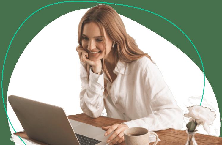 Female speaking online language teacher on her laptop